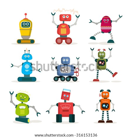 Set of colorful robot icons. - stock vector