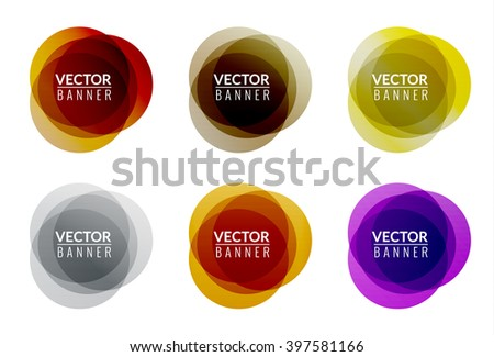 Set of colorful round abstract banners. Graphic banners design.