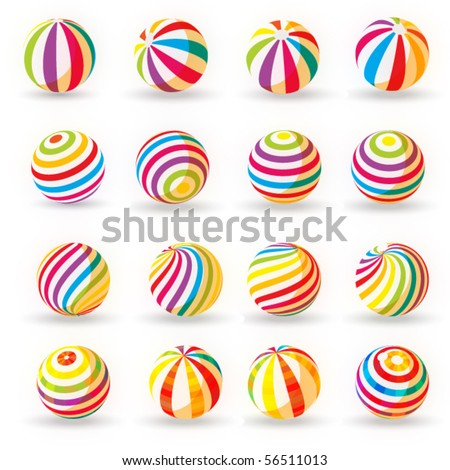 set of colorful rubber balloons - stock vector