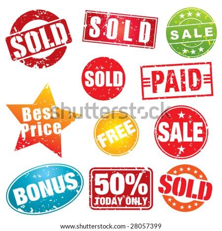 Set of colorful sale stencils. - stock vector