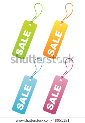 set of 4 colorful sale tags