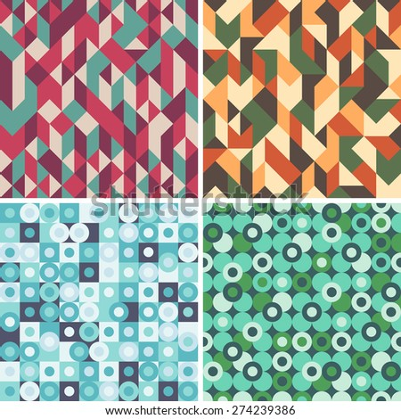 Set of colorful seamless patterns with circles and triangles.