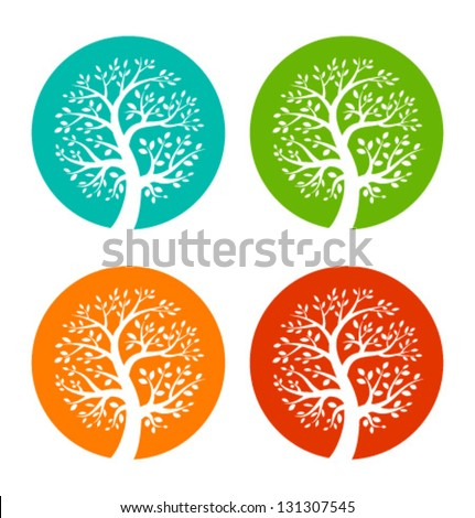 Set of Colorful Season Tree icons, vector logo illustration