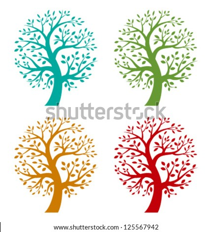 Set of Colorful Season Tree logo, vector illustration - stock vector