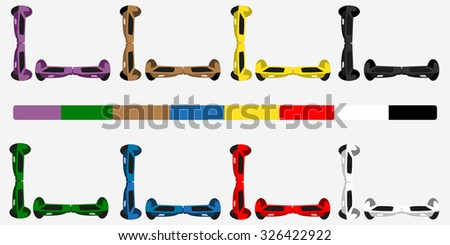 Set of colorful Self balancing electric scooters flat design vector  - stock vector