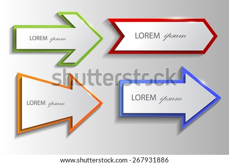 Set of colorful shiny arrows. Vector EPS10. - stock vector