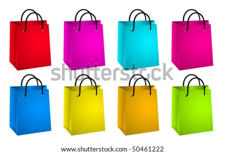 Set of colorful shopping bags.Vector illustration