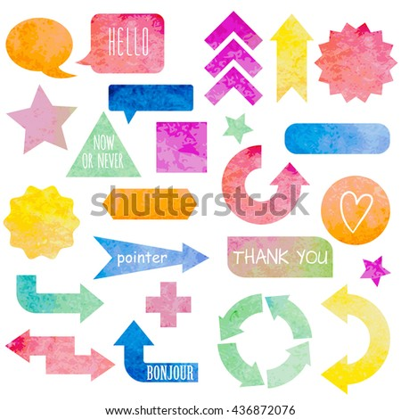Set of colorful signs and arrows. Elements for your design. Vector illustration.