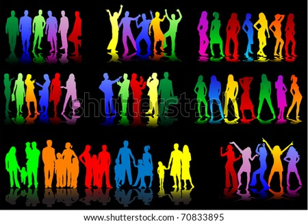 set of colorful silhouettes of conceptual - stock vector