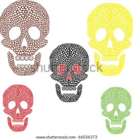 Set of colorful skulls - stock vector