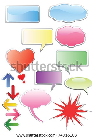Set of colorful speech bubbles and arrows