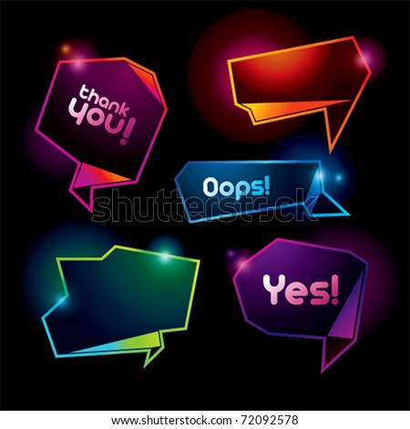 Set of colorful speech bubbles on the dark background. Vector illustration. - stock vector