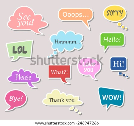 Set of colorful speech bubbles with text. Different design and color of comic bubble cloud collection - yellow, blue, red, green, orange... vector art image illustration, isolated on gray background - stock vector