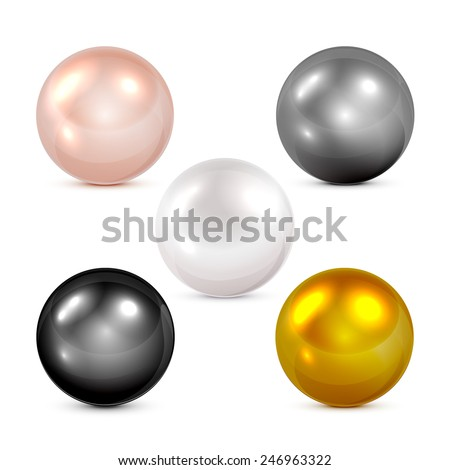 Set of colorful spheres and pearls isolated on white background, illustration. - stock vector