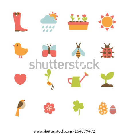 set of colorful spring icons - stock vector