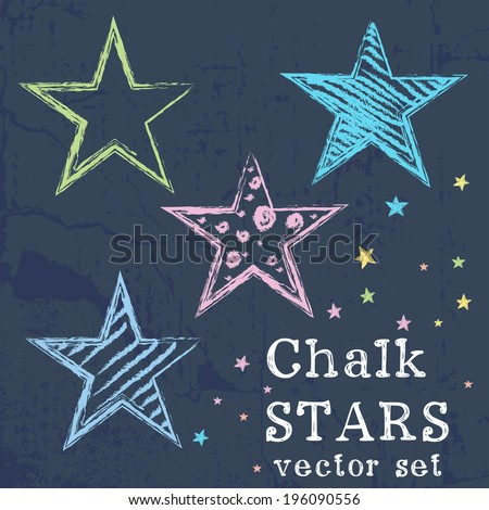 Set of colorful stars drawn like chalk drawing on grunge chalkboard background. - stock vector