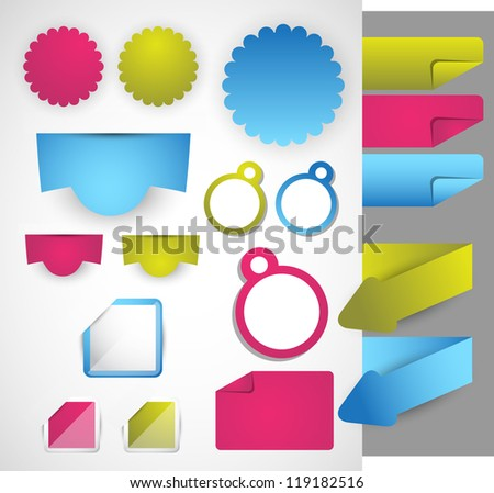 set of colorful sticker badge label on page - stock vector