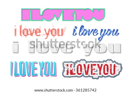 set of colorful stickers with i love you inscription isolated on white background. vector lovely Valentines day lettering - stock vector