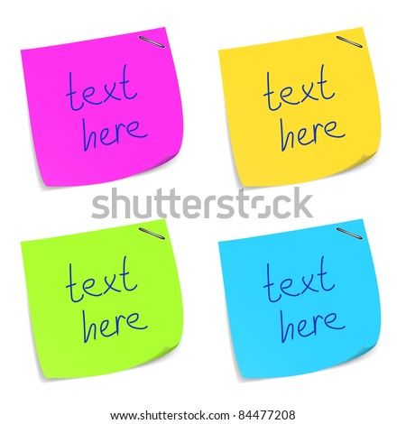 Set of colorful sticky memo notes. Vector eps10 illustration - stock vector