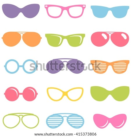 Set of colorful sunglasses icons - stock vector