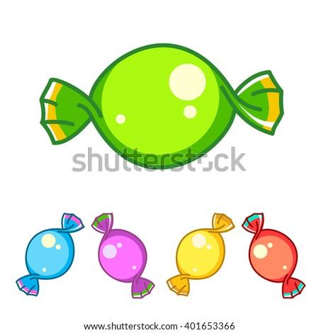 Set of colorful Sweet candies. Orange lemon menthol yellow magenta flavors. Vector illustration. - stock vector
