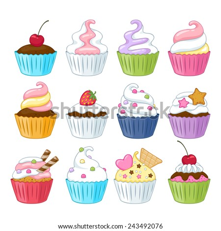 Set of colorful sweet cupcakes with decorations - berries, sprinkles, wafer, candies. - stock vector