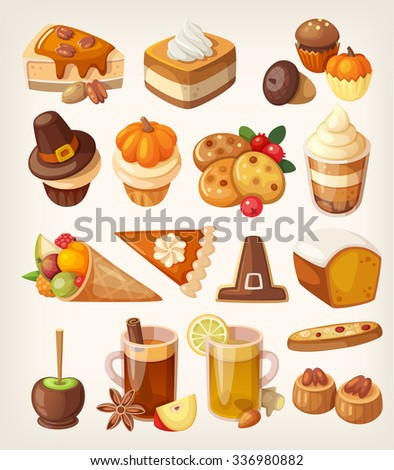 Set of colorful tasty Thanksgiving day desserts, sweets, candies and treats. - stock vector
