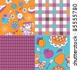 set of colorful tea&sweets patterns - stock photo