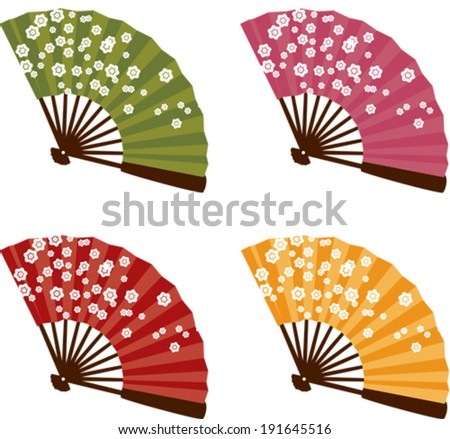 Set of 4 colorful traditional Japanese cherry blossom fans - stock vector