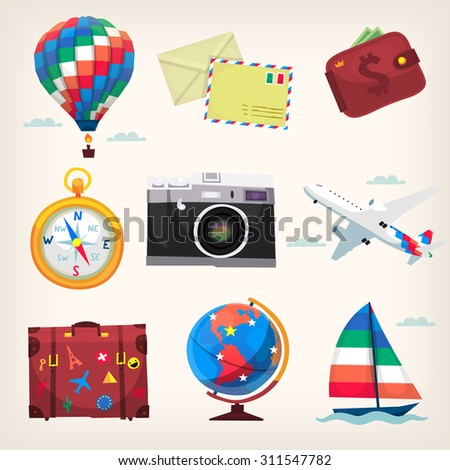 Set of colorful traveling transport and elements icons