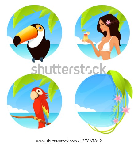set of colorful tropical summer illustrations with seaside background in circle shape