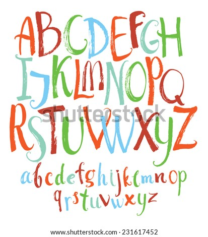 Set of Colorful Vector alphabet - stock vector
