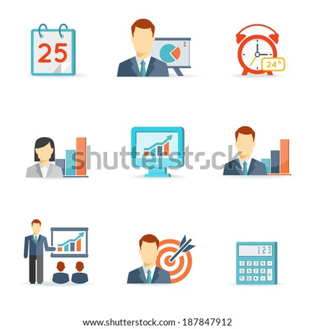 Set of colorful vector business icons including a calendar  alarm clock  bar graphs  monitor with a chart  presentation  target and calculator isolated on white - stock vector