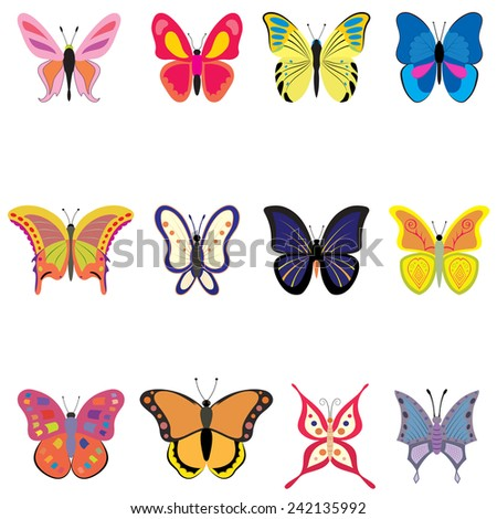 Set of colorful vector butterflies - illustration isolated on white background