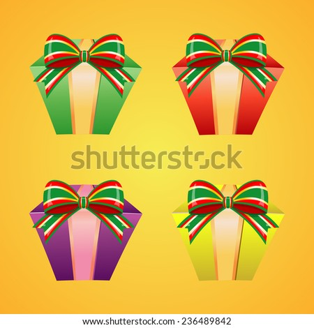 Set of colorful vector gift boxes with bows and ribbons - stock vector
