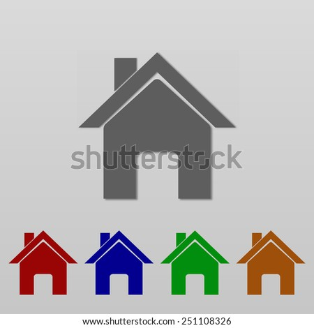 set of colorful vector home icon design - stock vector