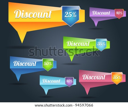 Set of colorful vector Icon Banner Discount Shape - stock vector