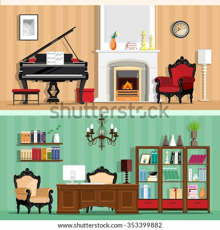 Set of colorful vector interior design house rooms with furniture icons: living room and home office. Rooms with vintage interior elements. Flat style vector illustration. - stock vector
