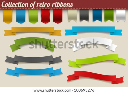 Set of colorful vector retro ribbons and tags - stock vector