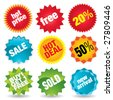 Set of colorful vector sale stickers and labels. - stock photo