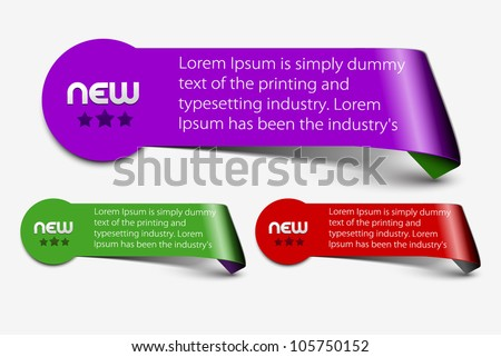 Set of colorful vector sample label, template design. - stock vector