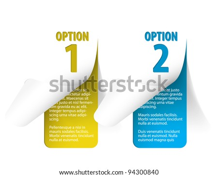 Set of Colorful Vector Sample stickers for various options - vertical (blue and yellow) - stock vector