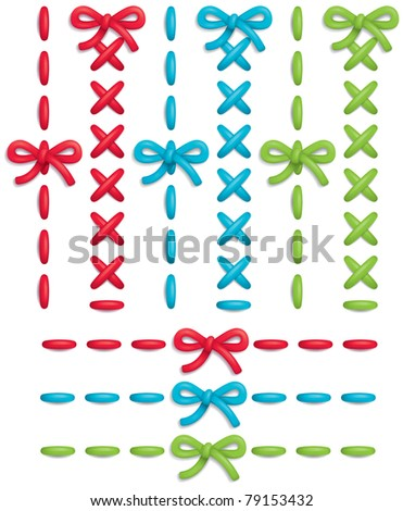 Set of colorful vector stitches and bows - stock vector