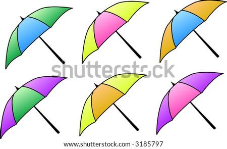 Set of colorful Vector Umbrellas - stock vector
