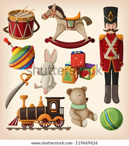 Set of colorful vintage christmas toys for kids. - stock vector