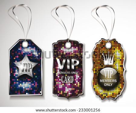 Set of colorful VIP tags on the disco background - stock vector