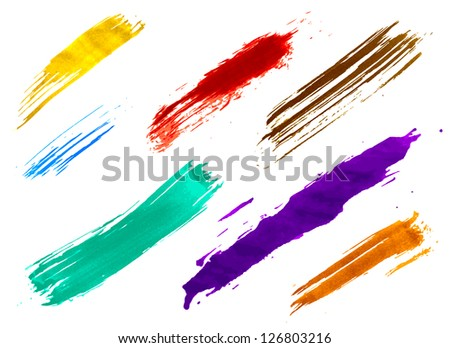 set of colorful watercolor brushes - stock vector