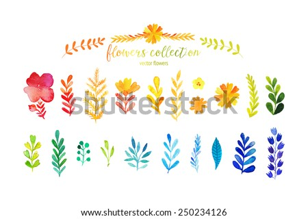 Set of colorful watercolor leaves. Vector illustration.vector set of red autumn watercolor leaves and berries, hand drawn design elements - stock vector