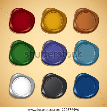 Set of Colorful Wax Seal : Vector Illustration - stock vector
