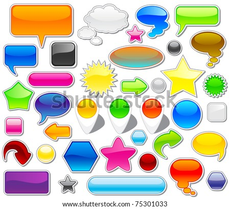 Set of colorful web elements, illustration - stock vector